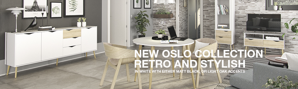 Oslo Collection Now Available in White with Oak or White with Matte Black