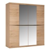 Kensington 4 Door Wardrobe with 2 Mirror doors in Oak