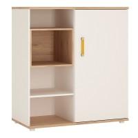 4KIDS Low cabinet with shelves (sliding door) with orange handles