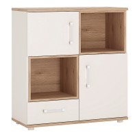 4KIDS 2 door 1 drawer cupboard with 2 open shelves with opalino handles