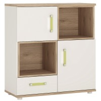 4KIDS 2 door 1 drawer cupboard with 2 open shelves with lemon handles