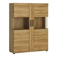 Cortina Low wide 2 door display cabinet in Grandson Oak