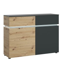 Luci 2 door 2 drawer cabinet (including LED lighting) in Platinum and Oak
