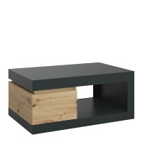 Luci 1 drawer coffee table in Platinum and Oak