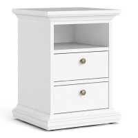 Paris Bedside 2 Drawers in White