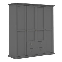Paris Wardrobe with 4 Doors and 2 Drawers in Matt Grey