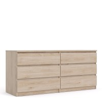 Naia Wide Chest of 6 Drawers (3+3) in Jackson Hickory Oak