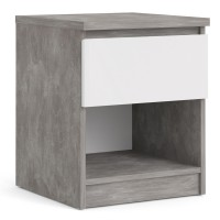 Naia Bedside - 1 Drawer 1 Shelf in Concrete and White High Gloss