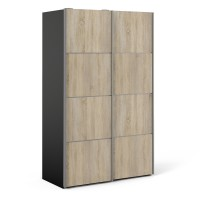 Verona Sliding Wardrobe 120cm in Black Matt with Oak Doors with 5 Shelves