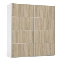 Verona Sliding Wardrobe 180cm in White with Oak Doors with 5 Shelves