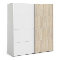 Verona Sliding Wardrobe 180cm in White with White and Oak doors with 2 Shelves
