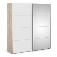 Verona Sliding Wardrobe 180cm in Oak with White and Mirror Doors with 2 Shelves