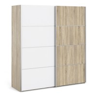 Verona Sliding Wardrobe 180cm in Oak with White and Oak doors with 2 Shelves