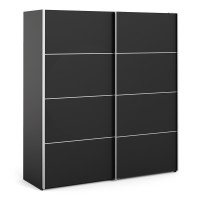 Verona Sliding Wardrobe 180cm in Black Matt with Black Matt Doors with 5 Shelves