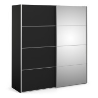 Verona Sliding Wardrobe 180cm in Black Matt with Black Matt and Mirror Doors with 5 Shelves