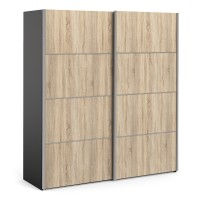 Verona Sliding Wardrobe 180cm in Black Matt with Oak Doors with 5 Shelves