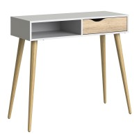 Oslo Console Table 1 Drawer 1 Shelf in White and Oak FSC Mix 70 % NC-COC-060652