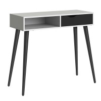 *Oslo Console Table 1 Drawer 1 Shelf in White and Black Matt
