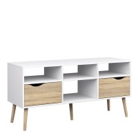 Oslo TV Unit - Wide - 2 Drawers 4 Shelves in White and Oak FSC Mix 70 % NC-COC-060652