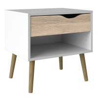 Oslo Bedside 1 Drawer in White and Oak FSC Mix 70 % NC-COC-060652