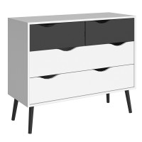 Oslo Chest of 4 Drawers (2+2) in White and Black Matt