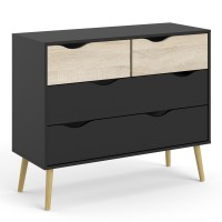 Oslo Chest of 4 Drawers (2+2) in Black and Oak