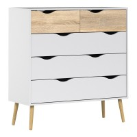 Oslo Chest of 5 Drawers (2+3) in White and Oak FSC Mix 70 % NC-COC-060652