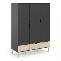 Oslo Wardrobe - 3 Doors 3 Drawers in Black and Oak