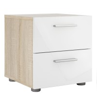 Pepe Bedside 2 Drawers in Oak with White High Gloss