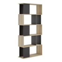 Maze Open Bookcase 4 Shelves in Oak and Black