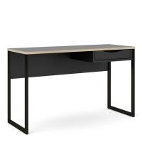 Function Plus Desk 1 Drawer Wide in Black with Oak Trim