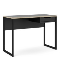 Function Plus Desk 1 Drawer in Black with Oak Trim