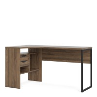 Function Plus Corner Desk 2 Drawers in Walnut
