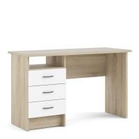 Function Plus Oak Desk 3 White Drawers