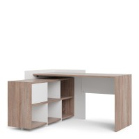 Function Plus Unit Desk with 6 Shelf Bookcase in White and Truffle Oak