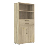 Prima Bookcase 4 Shelves with 2 Drawers and 2 Doors in Oak
