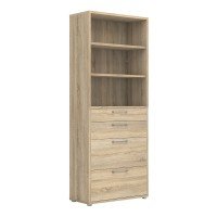 Prima Bookcase 5 Shelves with 2 Drawers + 2 File Drawers in Oak