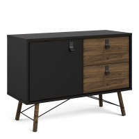 Ry Sideboard with 1 door + 2 drawers in Matt Black Walnut