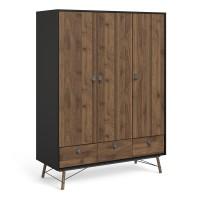 Ry Wardrobe 3 doors + 3 drawers in Matt Black Walnut