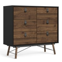 Ry Double chest of drawers 6 drawers in Matt Black Walnut