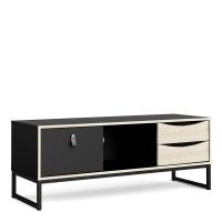 Stubbe TV Unit 1+2 drawers and open shelf in Matt Black Oak
