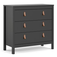 Barcelona Chest 3 drawers in Matt Black