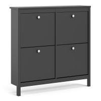 Madrid Shoe cabinet 4 compartments in Matt Black