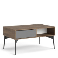 Fur Coffee table with 1 Drawer in Grey, White and Walnut