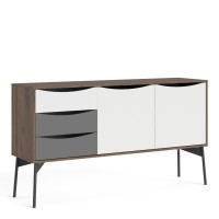 Fur Sideboard 2 Doors + 3 Drawers in Grey, White and Walnut