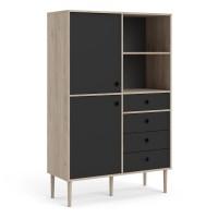 Rome Bookcase 2 Doors + 4 Drawers in Jackson Hickory Oak with Matt Black