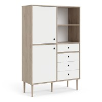 Rome Bookcase 2 Doors + 4 Drawers in Jackson Hickory Oak with Matt White