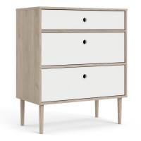 Rome Chest 3 Drawers in Jackson Hickory Oak with Matt White