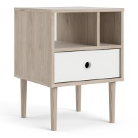 Rome Bedside 1 Drawer in Jackson Hickory Oak with White